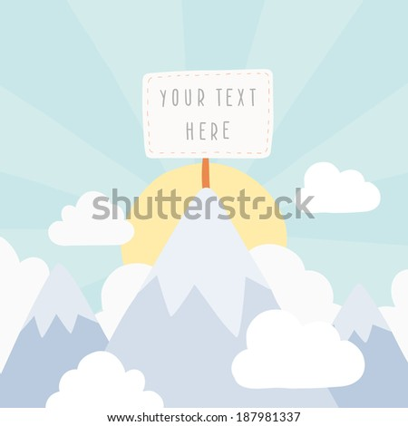 Vector hand drawn snow peak mountain with banner for your text - stock vector