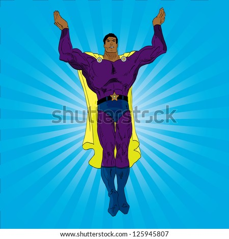 Vector hand drawn super hero hands raised pose - stock vector