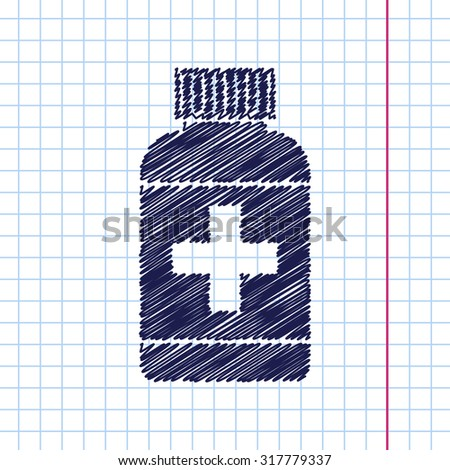 Vector hand drawn tablet bottle on copybook . Health icon  - stock vector