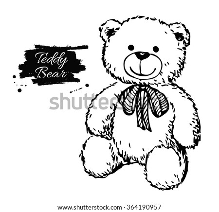 Vector hand drawn teddy bear illustration. Gift toy for Valentine's day, birthday, Christmas, holiday. - stock vector