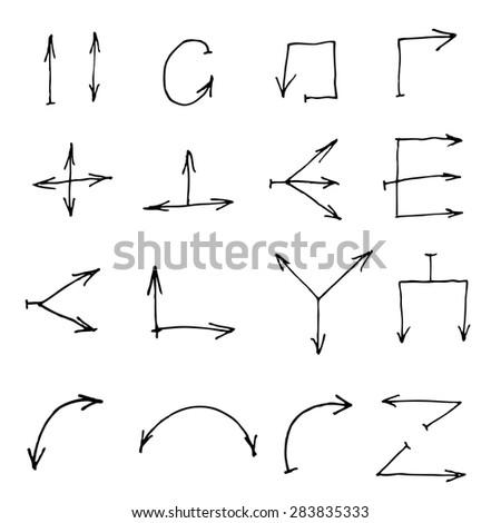 Vector hand drawn thin black arrows - stock vector