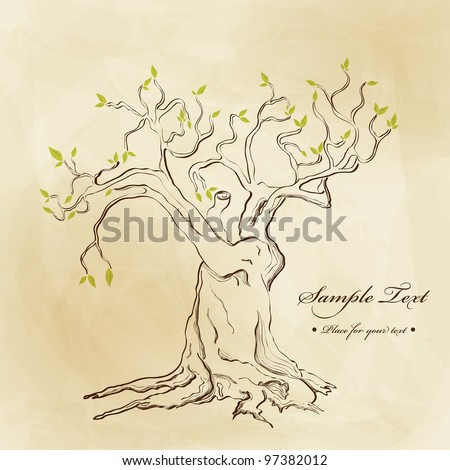 Vector hand drawn tree - stock vector