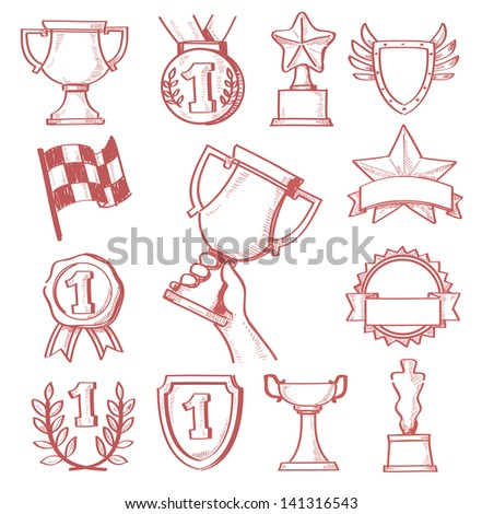 vector hand drawn trophy and awards icons set - stock vector