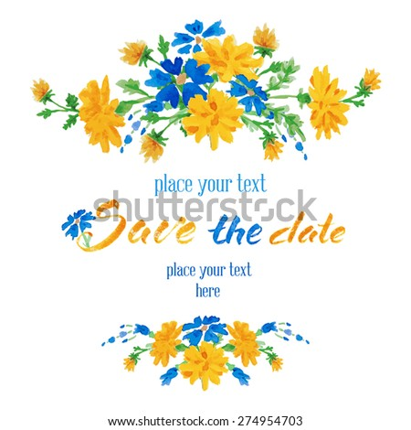 Vector hand drawn watercolor colorful  floral card with summer flowers and inscription save the date.  Isolated on white background. Copyspace for your text. - stock vector