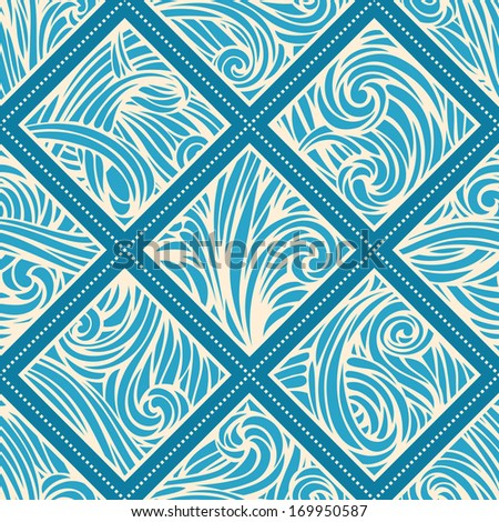Vector hand-drawn waves pattern. Seamless abstract hand-drawn pattern.Waves template. Seamless pattern can be used for wallpapers, web page backgrounds or wrapping papers. EPS 8.  - stock vector