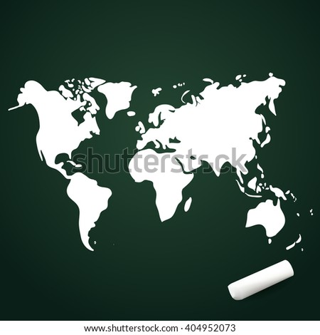 Vector hand drawn world map on chalkboard, doodle illustration with chalk - stock vector