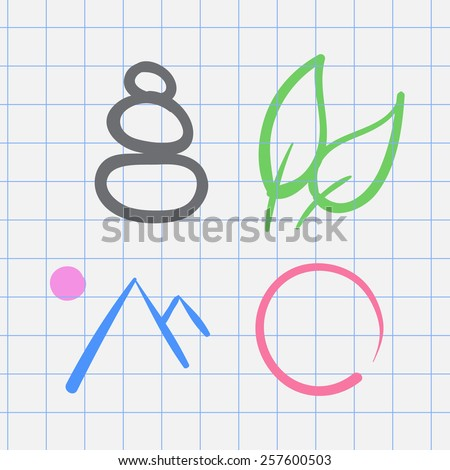 vector hand drawn zen icons set on a white background - stock vector