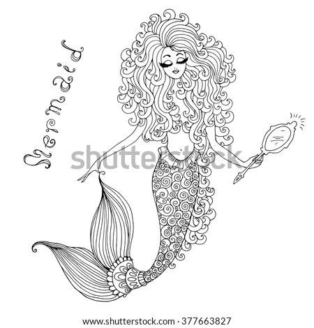 Vector hand drawnillustration of a fairy mermaid, holding a mirror in hand. Decorative tracery mermaid tail  with wavy long hair. Original hand drawn inscription mermaid. On a white background - stock vector