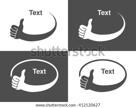 Vector hand gesture icons for advertising text, dark grey and white circular symbols, monochrome best choice labels  - stock vector