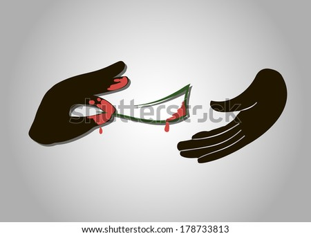 vector Hand giving money to other hand bribe corruption - stock vector