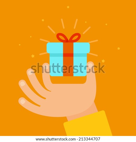 Vector hand giving present in flat style - gift concept illustration - stock vector