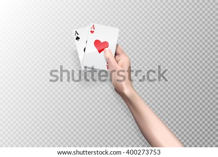 vector hand holding two aces  isolated on white or transparent  background. Poker cards - stock vector
