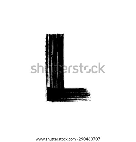 Vector hand paint letter L. Hand drawn letter with dry brush. - stock vector