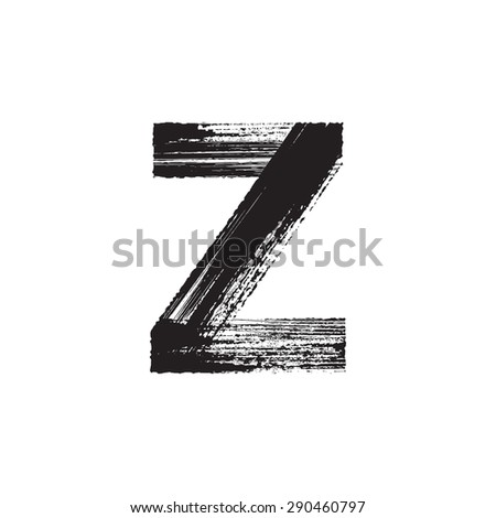 Vector hand paint letter Z. Hand drawn letter with dry brush. - stock vector