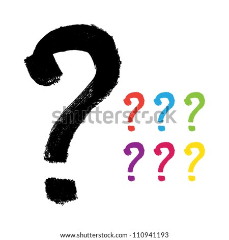 Vector hand-painted question mark - stock vector