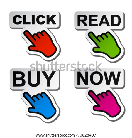vector hand pointing to the word stickers - stock vector