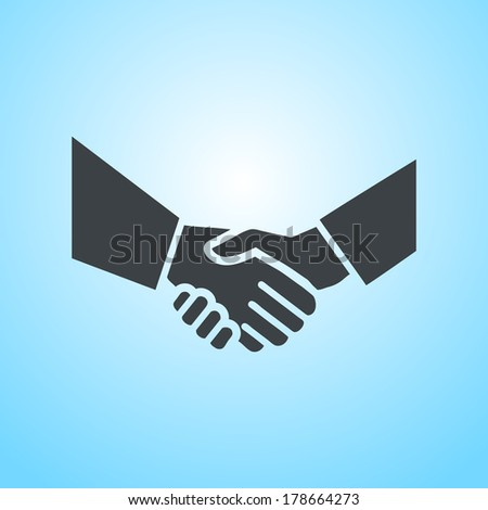vector hand shake flat design icon | pictogram on blue background  - stock vector