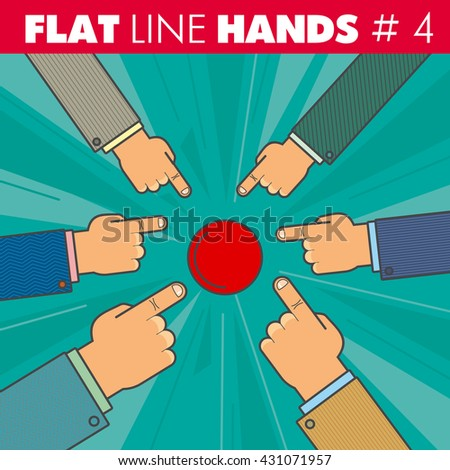 Vector hand style flat line design. Hand of a businessman finger presses the red button, pointing the finger: start, run, stop, click. For web, print. - stock vector