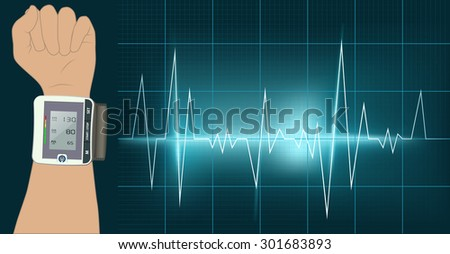 Vector Hand With Blood Pressure Instrument and Cardiagram, Eps10 Vector, Transparency and Gradient Mesh Used - stock vector