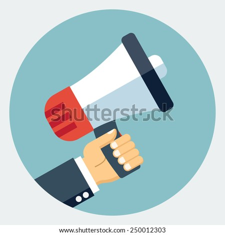 Vector hand with megaphone icon - stock vector