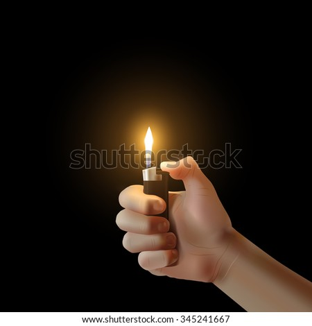 Vector hand with the lighter isolated. Lit up idea illustration. - stock vector