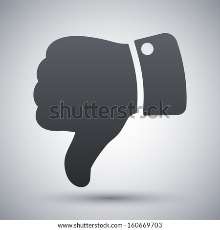 Vector hand with thumb down icon - stock vector