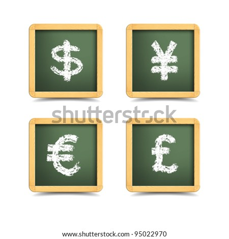 vector: hand-writing currency symbol on Blank chalkboard in wooden frame - stock vector