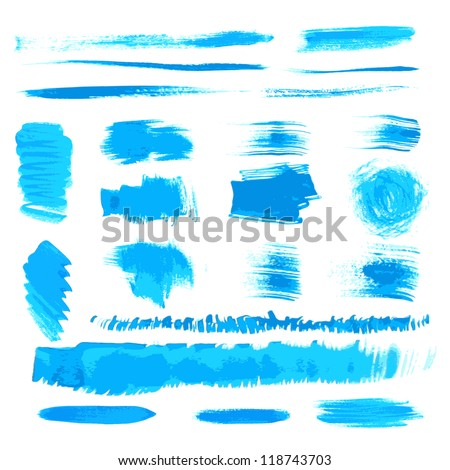 Vector handmade blue strokes set painted by brush - stock vector