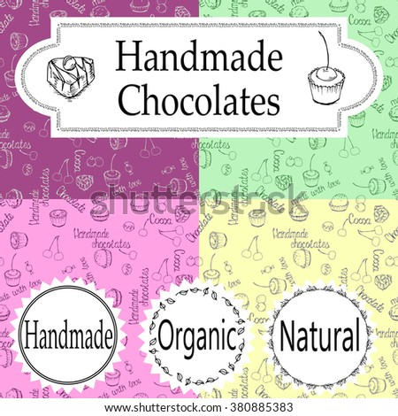 Vector handmade chocolates packaging templates and design elements for candy shop - cardboard with emblems and logos and seamless patterns. homemade chocolates, handmade chocolate, organic chocolate - stock vector