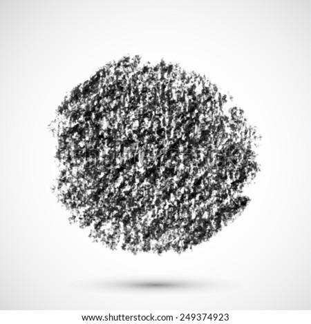 Vector handmade crayon striped circle. Grunge black design element. - stock vector