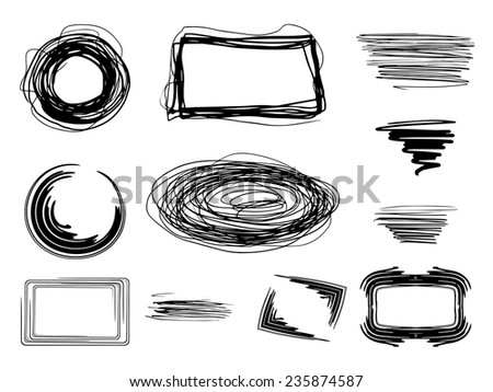Vector handmade marker stripes set - stock vector