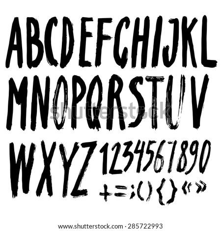 Vector Handmade Roman alphabet - drawn by ink - stock vector