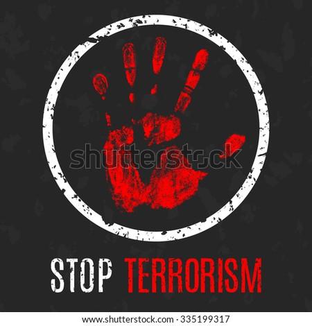 Vector handprint with inscription Stop terrorism - stock vector