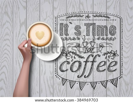 Vector hands holding cup of coffee. coffee break. workspace. plate with flowers ornament - stock vector