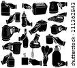 Vector hands & kitchenware silhouettes set - stock vector