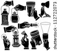 Vector hands & lamps silhouettes set - stock vector