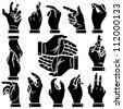 Vector hands silhouettes set - stock vector