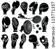 Vector hands & sports ball silhouettes set - stock vector