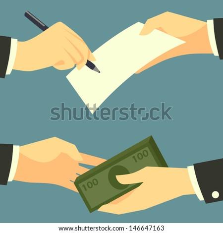 Vector hands with pen/document/money - stock vector