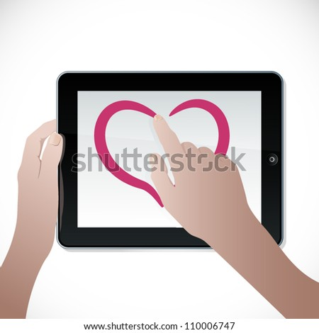 Vector hands with the touch screen device - stock vector