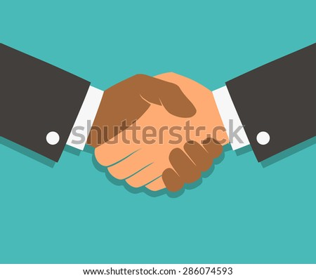 Vector handshake illustration. Background for business and finance. Flat style - stock vector