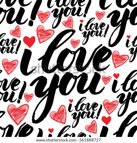 Vector handwritten calligraphy seamless pattern with sign LOVE  - stock vector