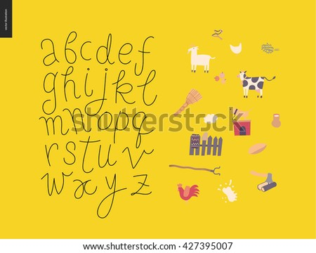 Vector handwritten script latin alphabet on the yellow background with rural elements - stock vector