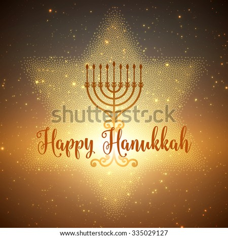 Vector Hanukkah background with menorah and david star. Shining stars and sun on the back. Happy Hanukkah background. Elegant greeting card. - stock vector