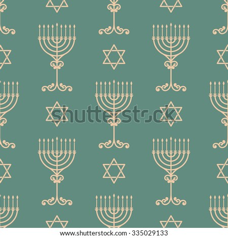 Vector hanukkah seamless pattern with menorah, dreidel and david star. Luxury traditional ornament, seamless texture for wallpapers, textile, wrapping.  - stock vector