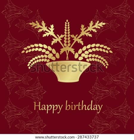 Vector Happy Birthday Card . Retro bouquet of flowers in a vase  - stock vector