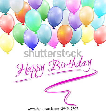 Vector Happy birthday card with balloons in various colors - stock vector