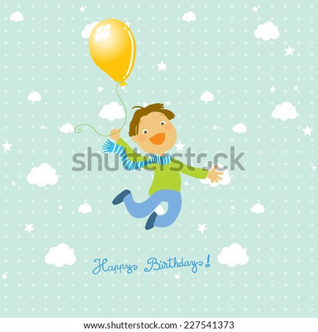 Vector happy birthday fun greeting card. Boy jumping with balloon. Sky with clouds. - stock vector