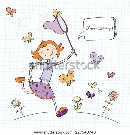 Vector happy birthday fun greeting card. Girl wit butterflies. Line art drawing, doodle, sketch. - stock vector