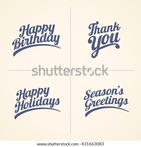 Vector Happy Birthday, Thank you, Happy Holidays and Seasons Greeting text set. Good wishes text collection.  - stock vector